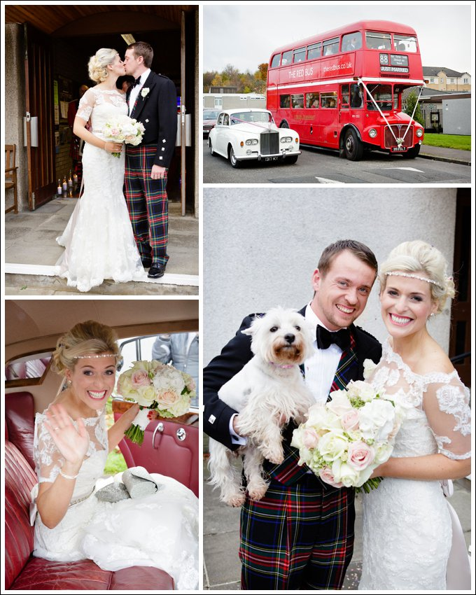 Bride and Groom, Wedding Car, Edinburgh Wedding Photographers